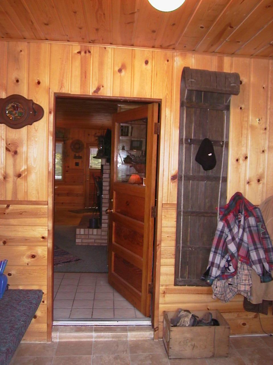The mud room at the entrance of the cabin